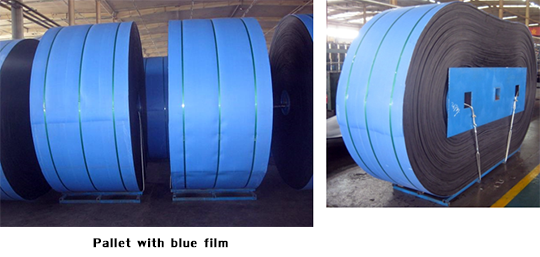 Pallet with blue film
